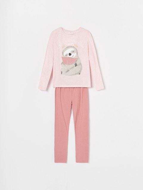 Pyjama-Set mit Druckmotiv und Glitzerelement