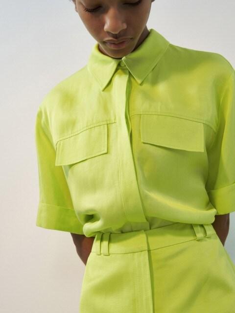 Neon-Hemdbluse aus Leinenmischung