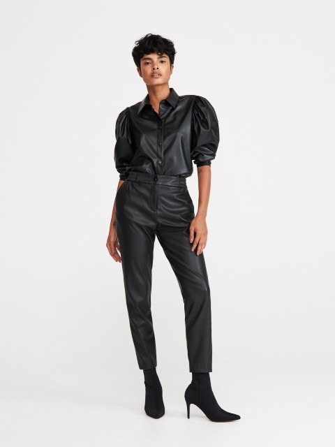 Faux leather trousers
