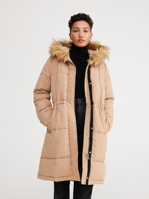 Coat with recycled-fabric lining