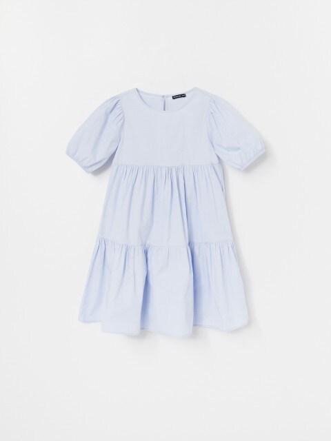 Popelínové šaty sbalonovými rukávy