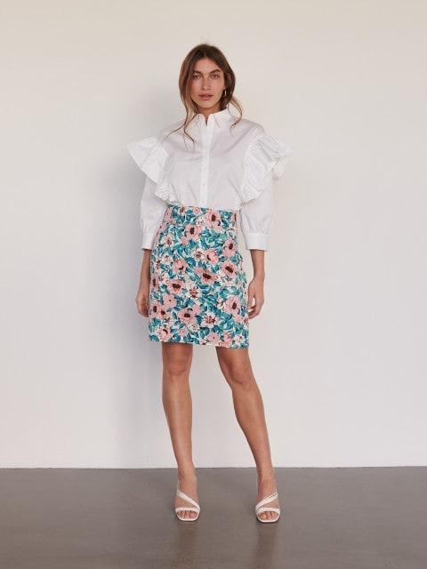 Oversize-Bluse mit Rüschen