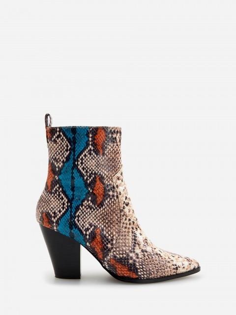 Ankle Boots in Schlangen-Optik