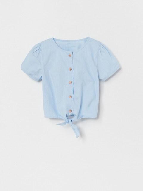 Baumwoll-Bluse mit Bindedetail