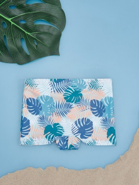 Patterned swim shorts with monstera leaf motif
