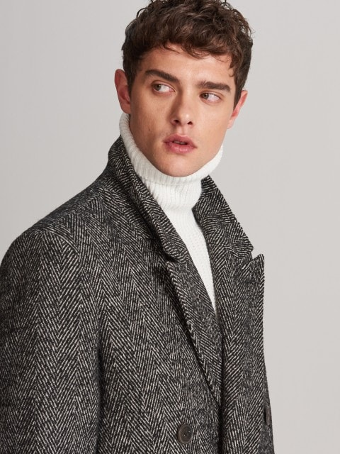 Double-breasted herringbone coat