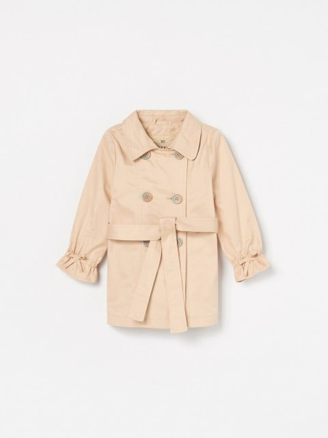 Trench coat with gathered sleeves