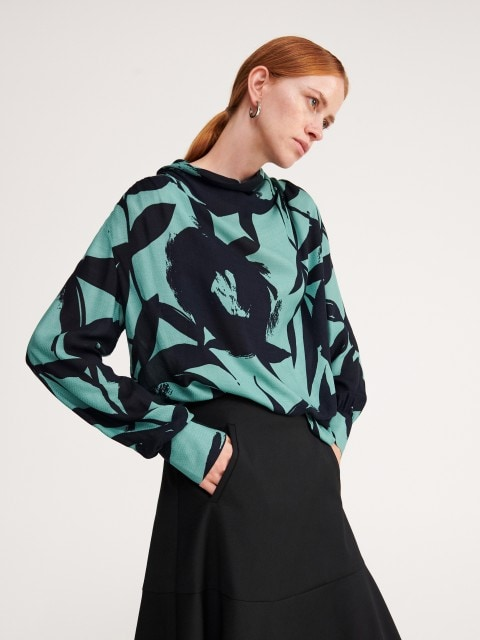 Jacquard blouse with wide stand up collar
