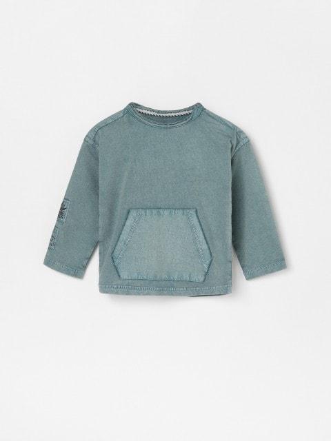 Camiseta de manga larga con bolsillo canguro