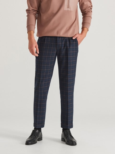 Check chino trousers