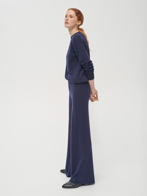 Wool rich jersey trousers with cashmere blend