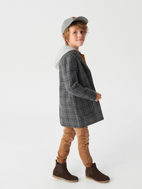 Wool blend coat with detachable hood