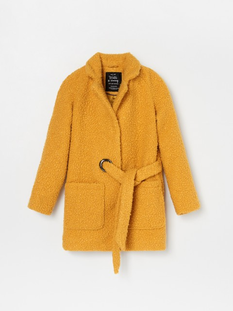 Faux shearling robe coat