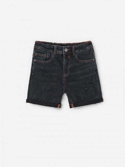 Short en jean effet délavé