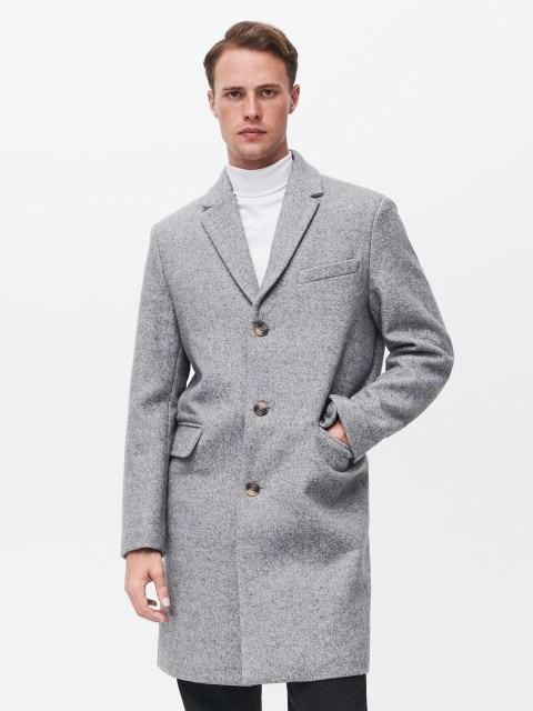 Manteau à motifs chevron en laine mélangée