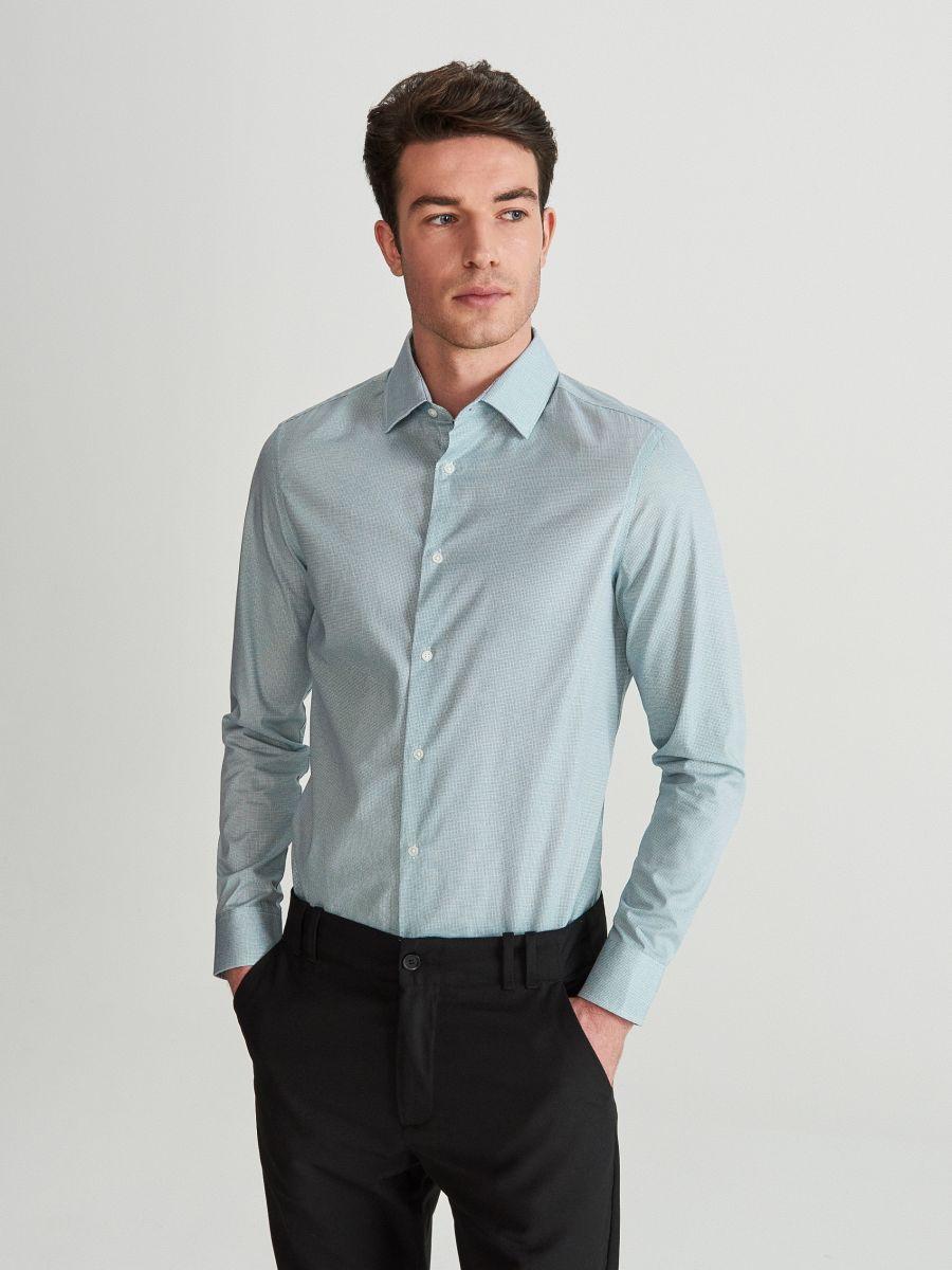 Cotton shirt in microprint