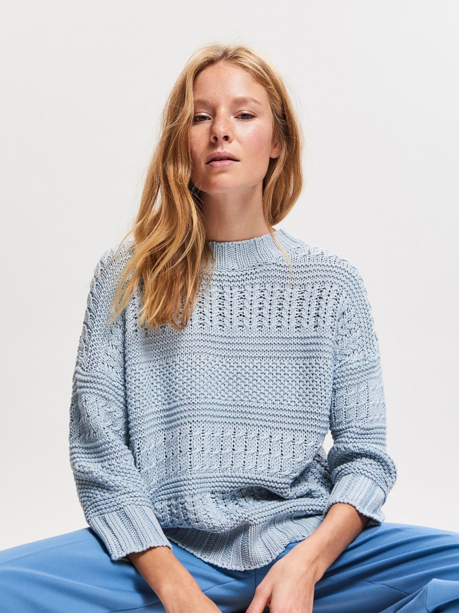 Jumper with decorative knit-panels