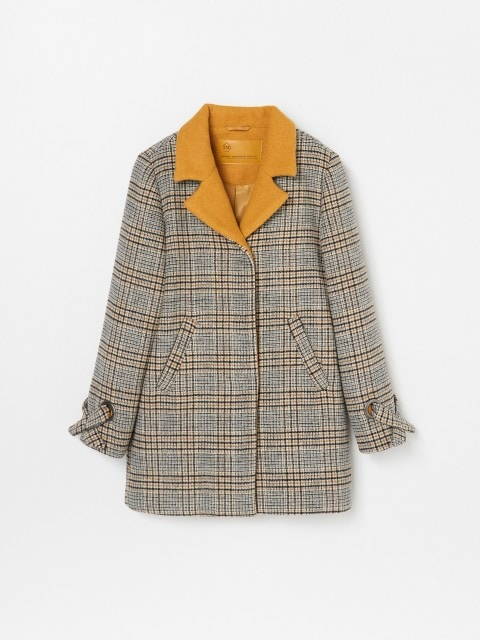 Wool blend coat in check