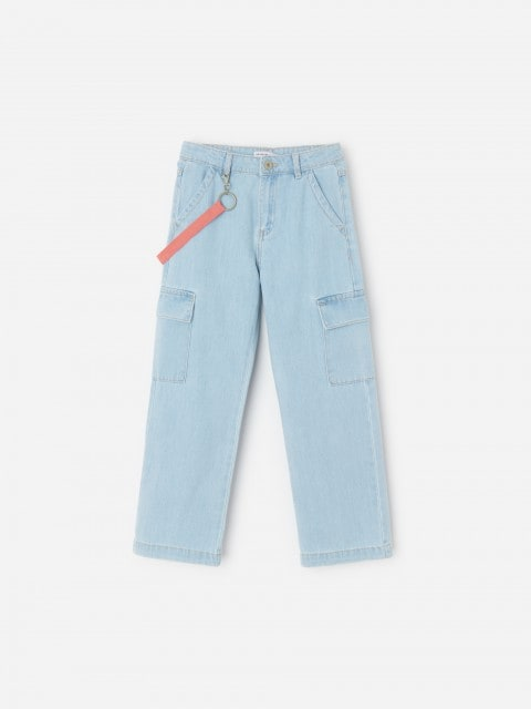 Cargo jeans with tape strap