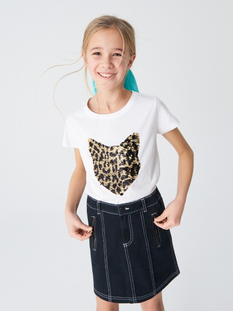 T-shirt with reversible sequin detail