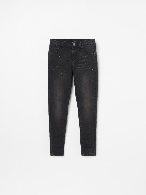 Denim trousers with beads