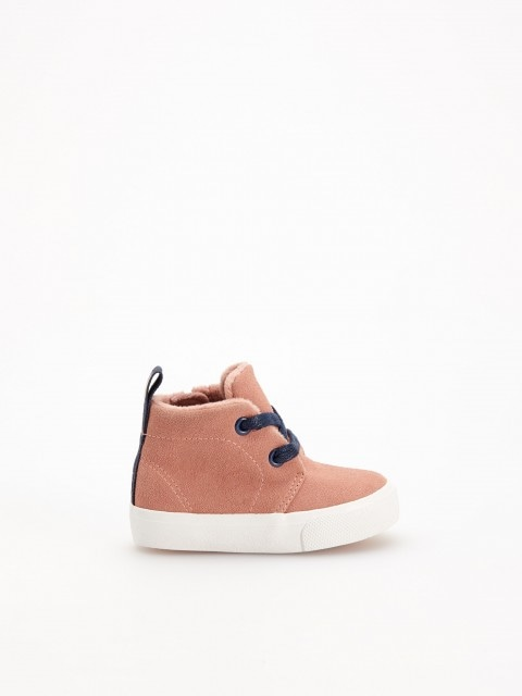 Synthetic suede ankle trainers