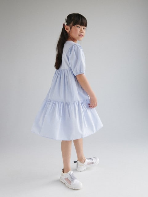 Poplin dress with puff sleeves