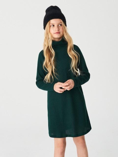 Midi haljina s podignutim ovratnikom