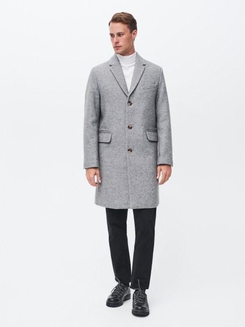 Halszálkamintás, gyapjúkeverék kabát