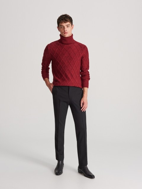 Structural jersey turtleneck