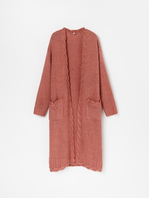 Longline cardigan with decorative trimming