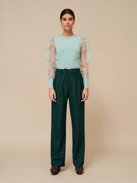Jumper with organza sleeves