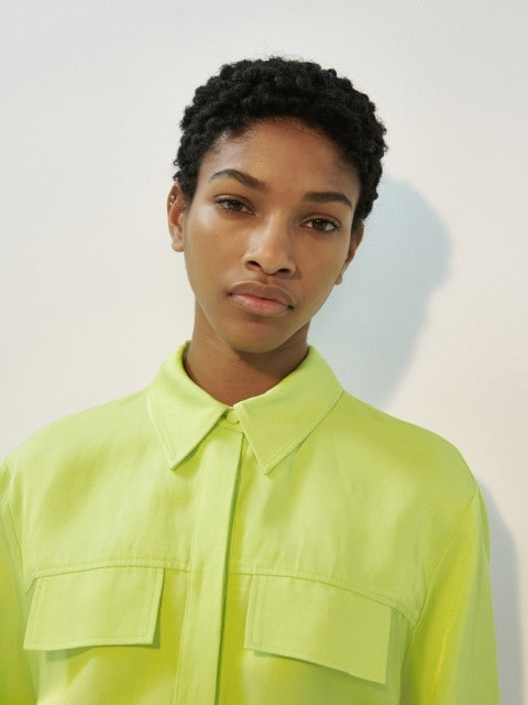 Linen blend neon shirt