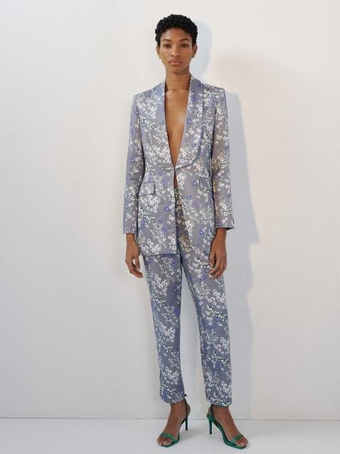 Cupro rich floral print blazer