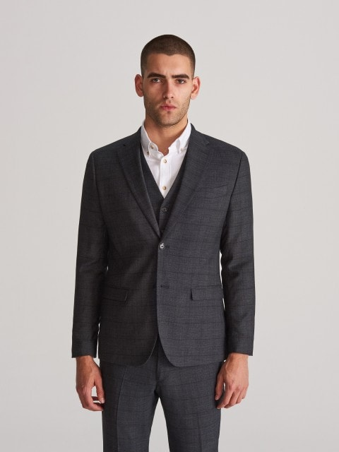 Checked suit jacker