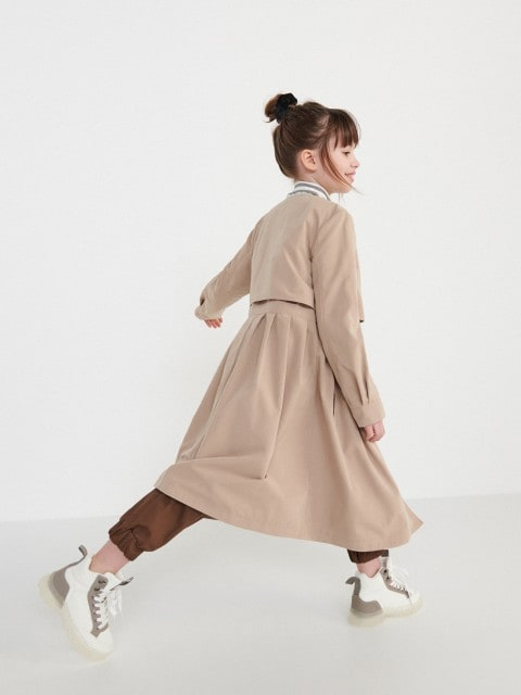 Trapeze coat with cotton blend