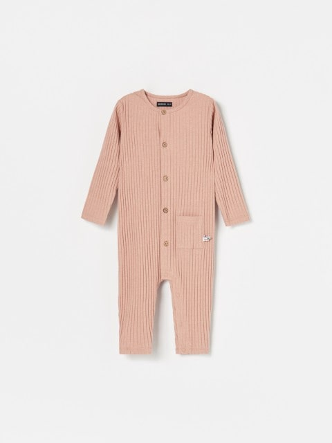 Rib knit fabric romper