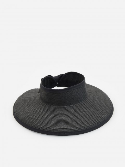 Wide brim woven visor with bow detail