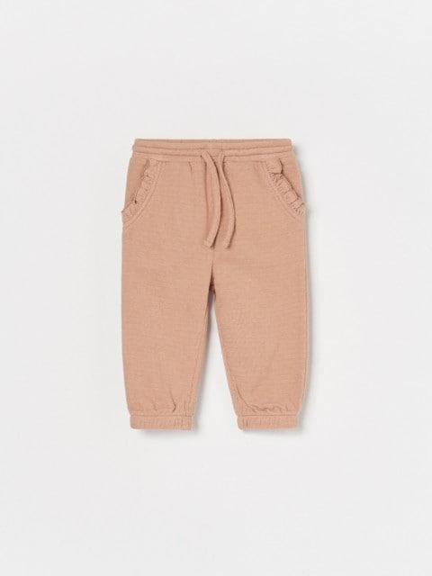 Pantaloni in jersey strutturato con dettaglio a balze