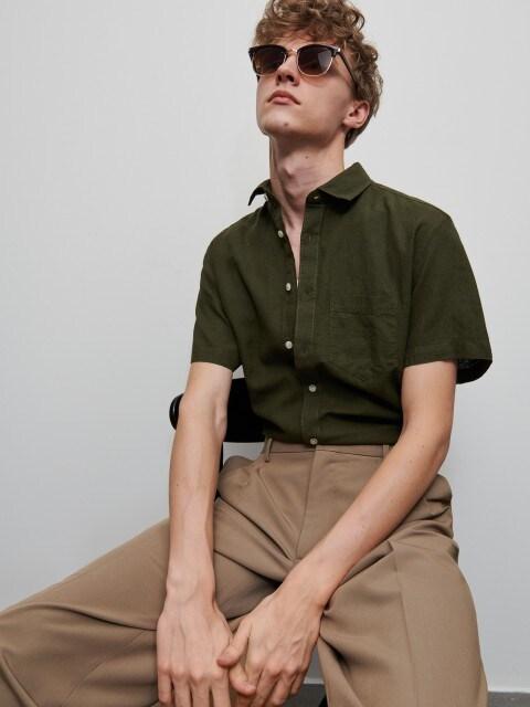 Camicia in lino e misto cotone
