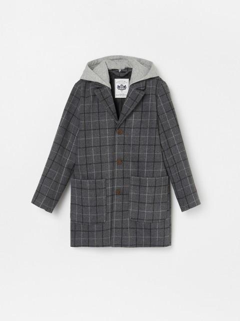 Wool blend coat with detachable hood
