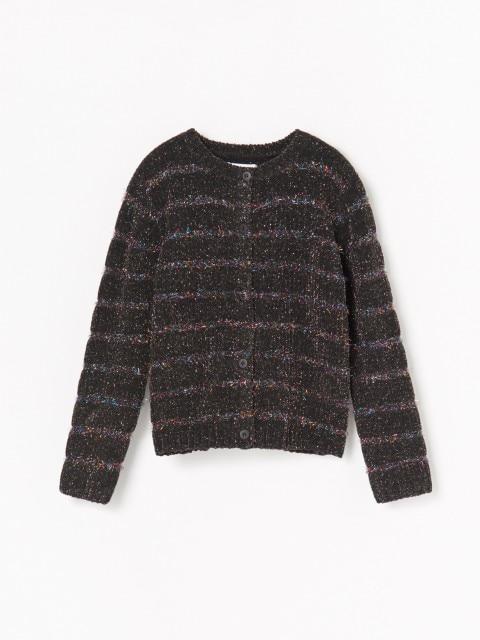 Button down jumper with metallic thread