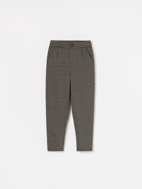 Dogtooth print cigarette trousers