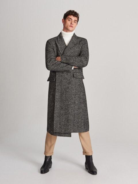 Double-breasted herringbone coat