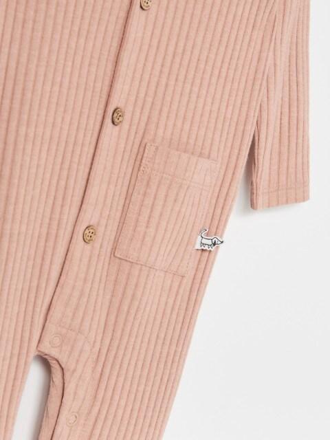 Rib knit fabric romper