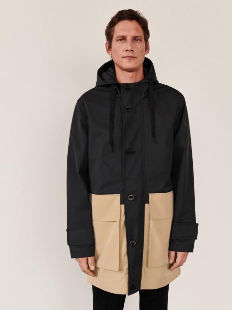 Hooded parka jacket with pockets
