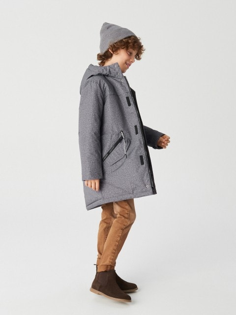 Insulated parka jacket with hood