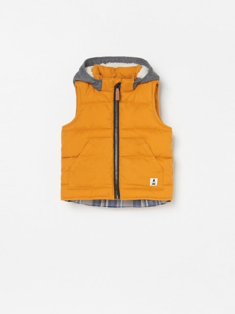 Padded gillet with hood