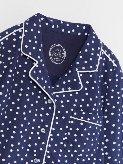 Kokvilnas pidžamas komplekts ar punktiņu rakstu