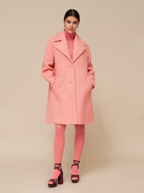 Rozā krāsas mētelis ar vilnu